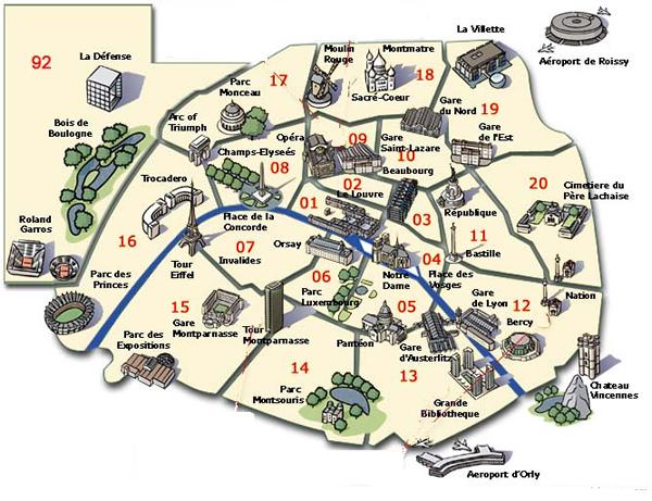 plan de paris avec monuments
