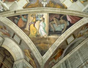Pendentifs du plafond de la chapelle sixtine de michel ange - Michel ange chapelle sixtine plafond ...