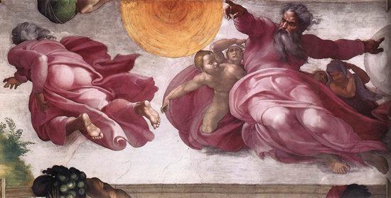 La cr ation du soleil de la lune et des plantes plafond - Fresque du plafond de la chapelle sixtine ...