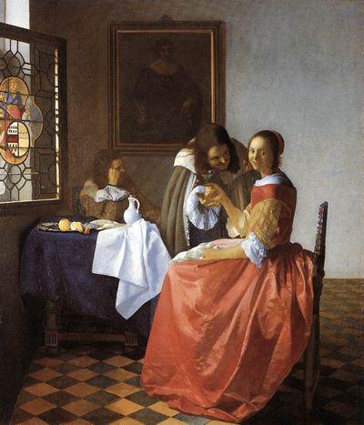 Jeune fille au verre de vin de Johannes Vermeer